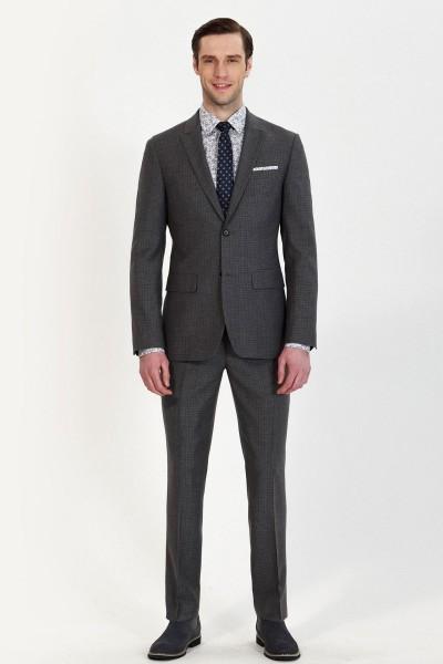 Black Grain Patterns Two-piece Suit ID-783