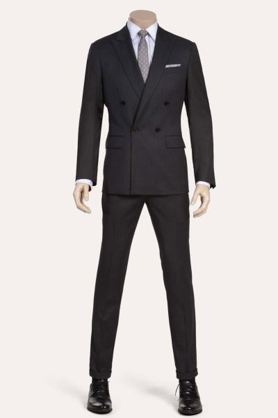 Flint Gray Striped Two-Piece Suit ID-848