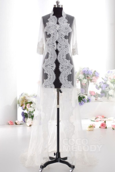 Ivory 3/4 Sleeve Graceful Wedding Wrap AC4152