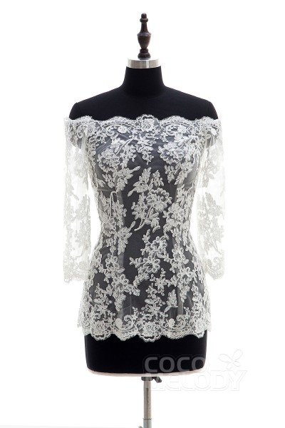 Modern Ivory Lace Long Sleeve Wedding Wrap AC6007