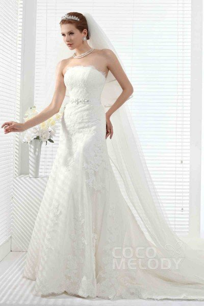Classic Strapless Chapel Train Tulle Lace Up-Corset Wedding Dress Alb12258