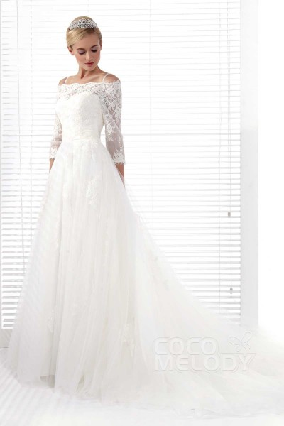 Glamorous A-Line Spaghetti Strap Chapel Train Tulle Wedding Dress Alb12282