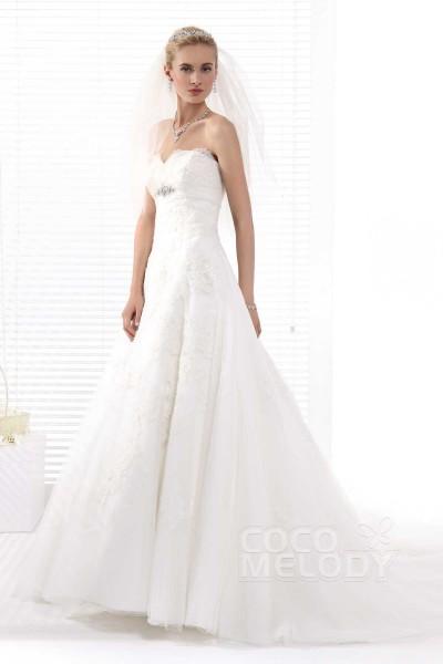 Perfect A-Line Sweetheart Chapel Train Tulle Wedding Dress Alb12283