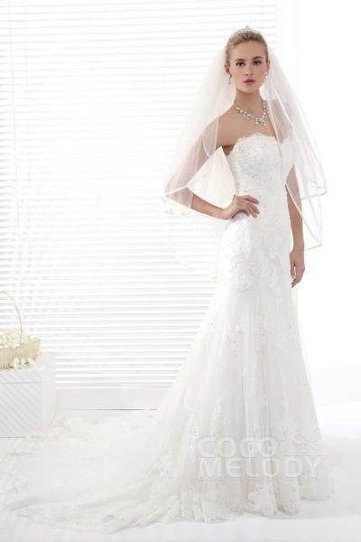 Classic Sheath-Column Sweetheart Court Train Tulle Wedding Dress Alb12284
