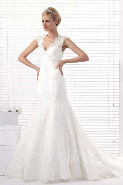 Modern Trumpet-Mermaid Chapel Train Lace Open Back Wedding Dress Alb12293