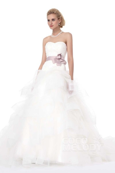 Classic Princess Sweetheart Court Train Tulle Wedding Dress Alb12296