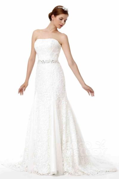Timeless Sheath-Column Strapless Court Train Lace Wedding Dress Alb12297