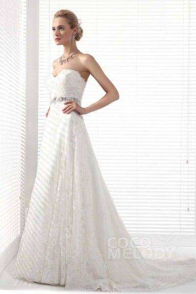 Elegant A-Line Sweetheart Court Train Lace Wedding Dress Alb12299