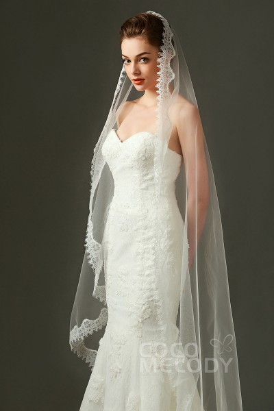 Graceful One-tier Lace Edge Tulle Ivory 200*146cm Fingertip Veils with Appliques AV160009