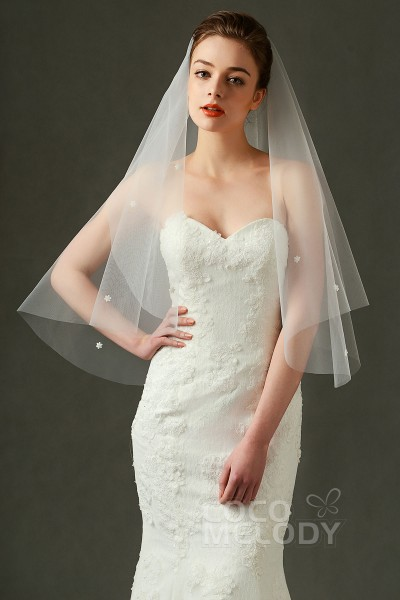 Fashion One-tier Cut Edge Tulle Ivory 110*150cm Waist Veils with Flower and Beading AV160013