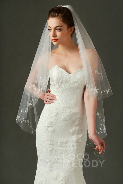 Fantastic Two Tier Cut Edge Tulle Ivory 70108137cm Hip Veils With