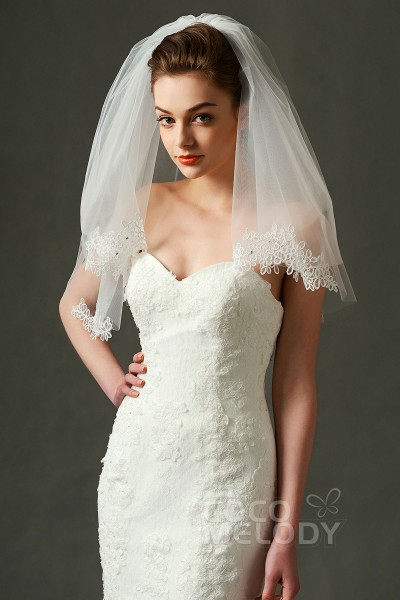 Trendy Two-tier Lace Edge Tulle Ivory 54*63*148cm Shoulder Veils with Appliques and Beading AV160024