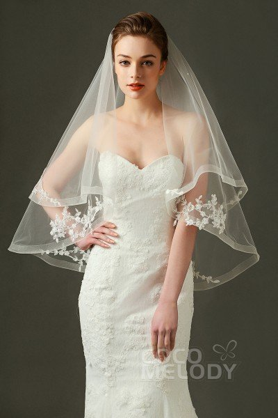 Classic Two-tier Lace Edge Tulle Ivory 70*90*130cm Hip Veils with Appliques AV160029