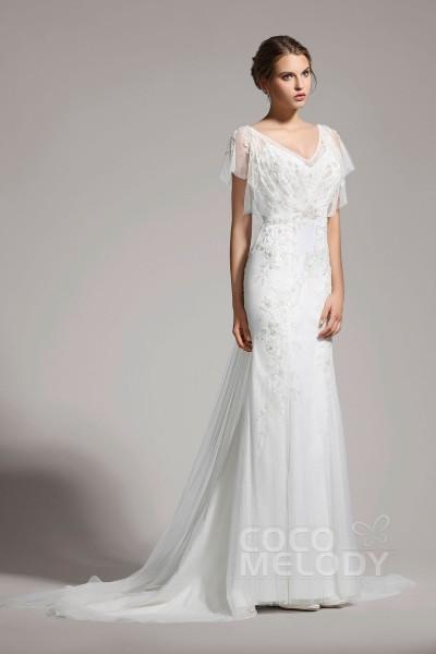 Delicate Trumpet-Mermaid V-Neck Tulle Ivory Cap Sleeve Wedding Dress with Beading AWVT15001