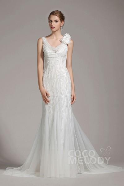 Charming Sheath-Column V-Neck Tulle Ivory Sleeveless Wedding Dress with Beading and Flower AWVT15002