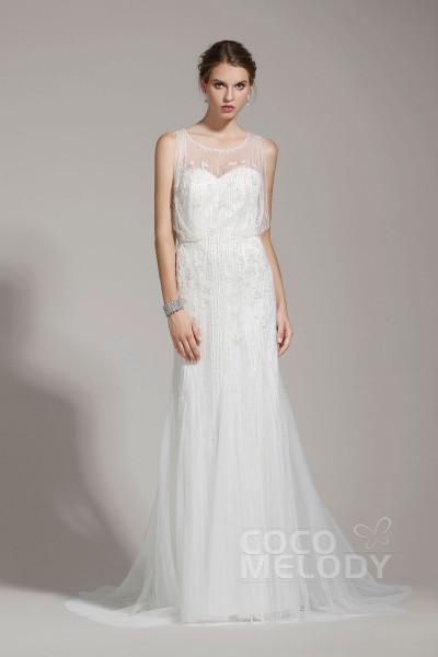 Delicate Sheath-Column Illusion Tulle Ivory Sleeveless Wedding Dress with Beading AWZT15001
