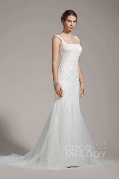 Luxurious Trumpet-Mermaid Square Tulle Ivory Sleeveless Wedding Dress with Beading and Sequin AWZT15005