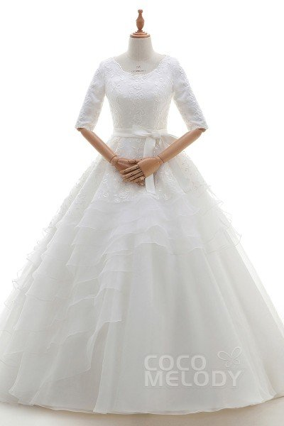 Eye-Catching Princess Bateau Natural Court Train Organza and Lace Ivory Half Sleeve Key Hole Wedding Dress with Embroidery Ruffles and Sashes B14TB0001