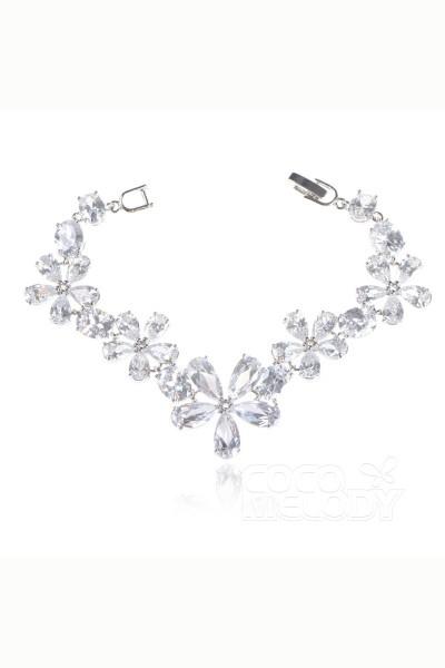 Elegant Silver Cloud Zircon Wedding Bracelets CB160018