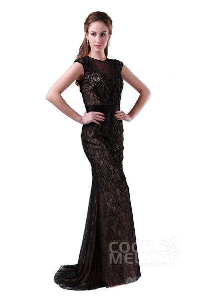 Classic Bateau Natural Sweep-Brush Train Lace Black Cap Sleeve Open Back Mother of The Bride Dress COAT15001