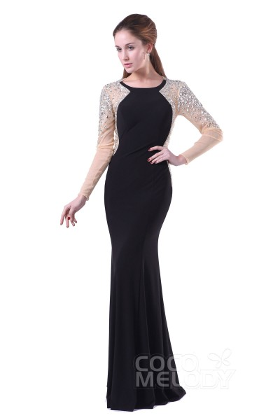 Chic Bateau Floor Length Chiffon Black Long Sleeve Open Back Mother of The Bride Dress with Crystals COAT15002