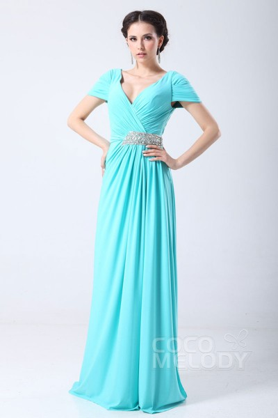 Hot Selling Sheath-Column V-Neck Sweep-Brush Train Chiffon Evening Dress with Draped and Beading COSF14063