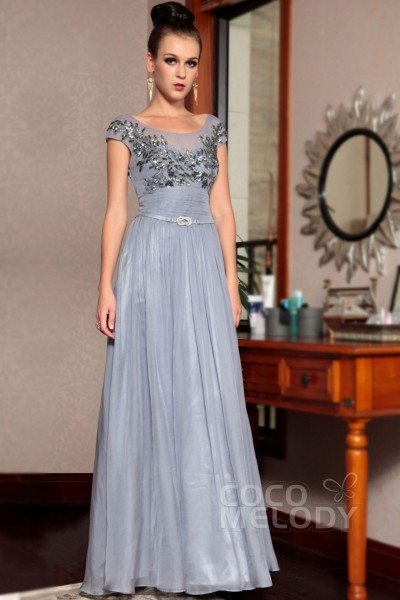 Chic Sheath-Column Bateau Natural Floor Length Flint Gray Cap Sleeve Side Zipper Wedding Guest Dress with Appliques and Sequin COSF15004