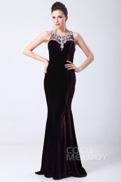 Hot Sale Sheath-Column Jewel Sweep-Brush Train Velvet Evening Dress with Split and Crystals COST1400D