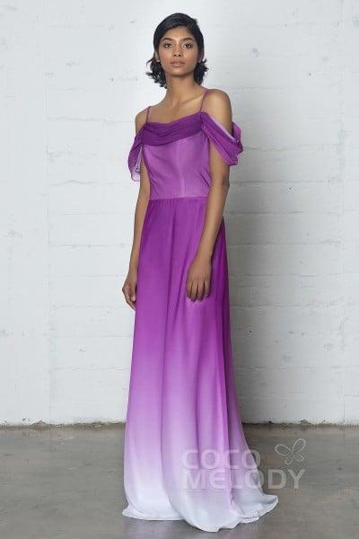 Elegant Sheath-Column Cowl Natural Floor Length Ombre Chiffon Sleeveless Zipper Dress COZF17012