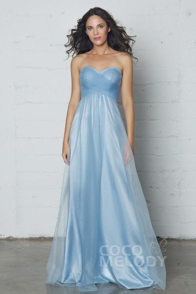 Fantastic Sheath-Column Sweetheart Natural Floor Length Tulle Sleeveless Zipper Dress with Pleating COZF17016