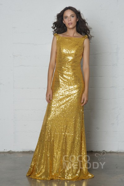 Elegant Sheath-Column Bateau Natural Floor Length Sequined Sleeveless Side Zipper Dress with Draped COZF17020