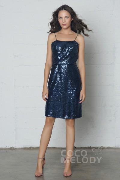 Divine Sheath-Column Spaghetti Strap Natural Short-Mini Sequined Sleeveless Zipper Dress COZF17022