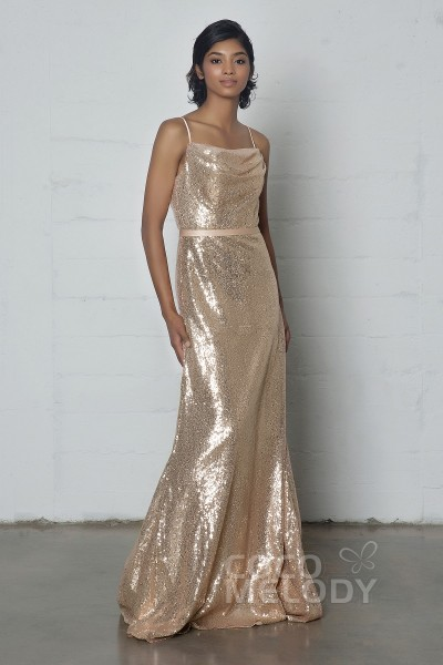 Modern Sheath-Column Cowl Natural Floor Length Sequined Sleeveless Zipper Dress with Sashes COZF17023
