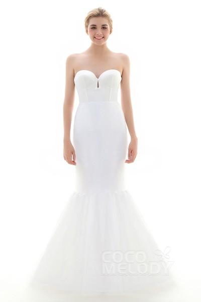 Trumpet-Mermaid Floor-Length Mermaid and Trumpet Gown Slip 1 Hoop Tulle Wedding Petticoats CP0013003