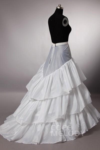 Trumpet-Mermaid Sweep-Brush Train Mermaid and Trumpet Gown Slip 3 Hoops Polyester Taffeta Wedding Petticoats CP0013008