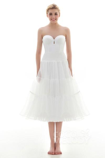 A-Line Tea Length Short Flare Slip Organza Wedding Petticoats CP001600B