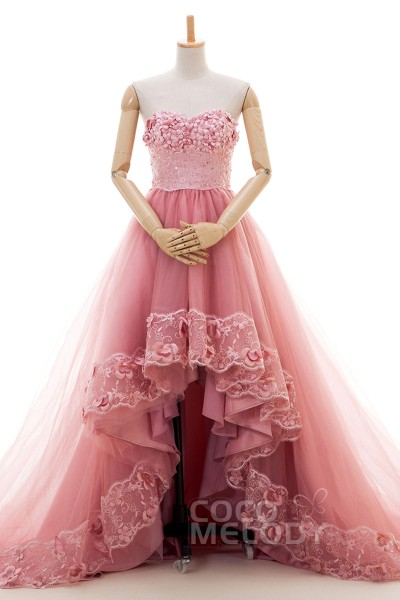 Unique Asymmetrical Sweetheart Natural Chapel Train Tulle Sea Pink Sleeveless Lace Up-Corset Wedding Dress Beading Flower CUL016001