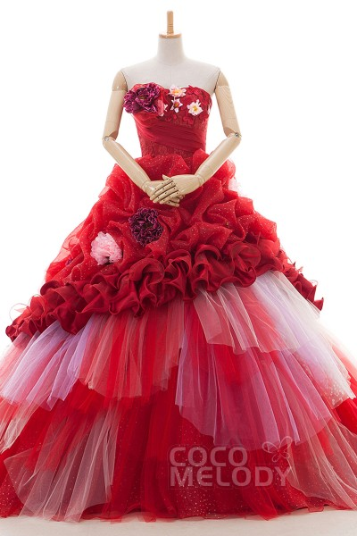 New Style Princess Sweetheart Natural Chapel Train Tulle Fiery Red Sleeveless Lace Up-Corset Wedding Dress Pick-Ups Flower Tiered CUL016002
