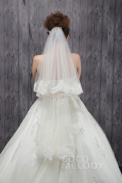 Gorgeous Two-tier Lace Edge Tulle Ivory Fingertip Veils CV0015006