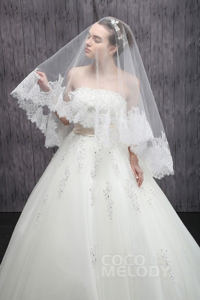 Cute One-tier Lace Edge Tulle Ivory Fingertip Veils CV001500F