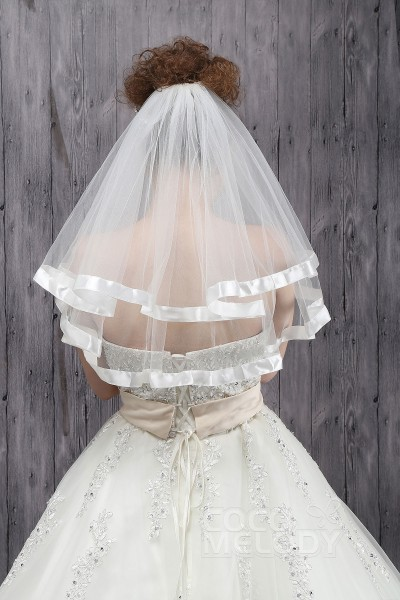 Charming Two-tier Ribbon Edge Tulle Ivory Elbow Veils CV0015010