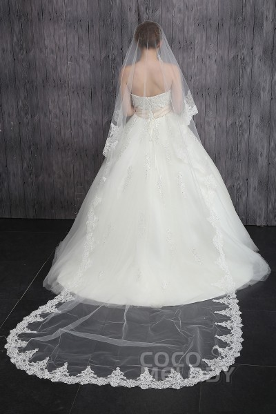 Eye-catching One-tier Lace Edge Tulle Ivory Cathedral Veils CV0015011