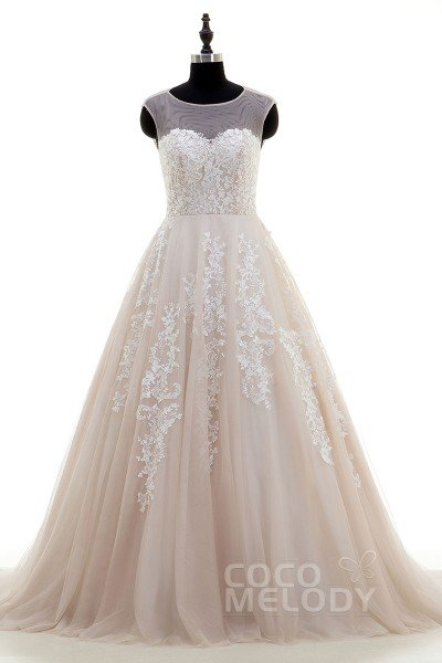New Arrival A-Line Illusion Natural Court Train Tulle and Lace Champagne Sleeveless Key Hole Wedding Dress with Appliques CWKT16001