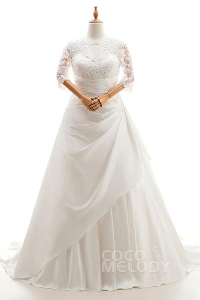 Impressive A-Line V-Neck Natural Court Train Taffeta Ivory 3/4 Length Sleeve Lace Up-Corset Plus Size Wedding Dress Appliques Pleating CWLT1600C