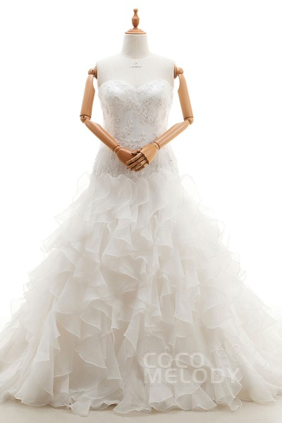 Romantic Sweetheart Natural Court Train Organza Ivory Sleeveless Lace Up-Corset Plus Size Wedding Dress Appliques Ruffles CWLT1600F