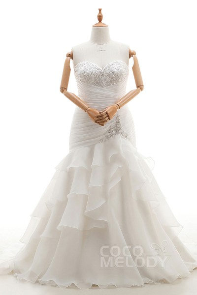 Perfect Trumpet-Mermaid Sweetheart Natural Court Train Organza Ivory Sleeveless Lace Up-Corset Plus Size Wedding Dress Pleating Tiered CWUT16001