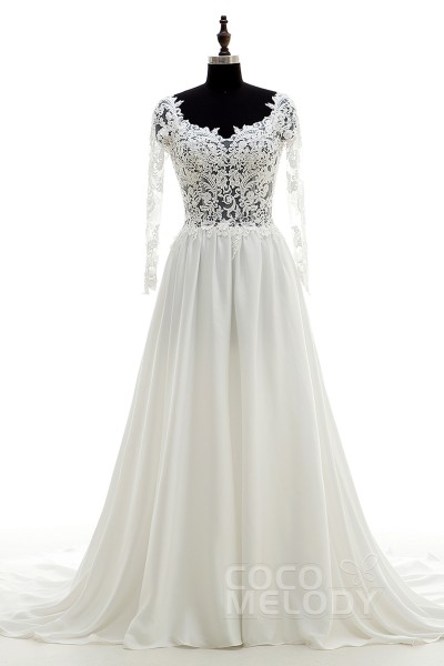 Divine A-Line Scoop Natural Chapel Train Chiffon and Lace Ivory Long Sleeve Backless Wedding Dress with Appliques CWVT16001