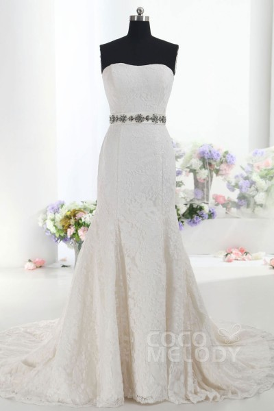 Graceful Trumpet-Mermaid Sweetheart Train Lace Ivory Sleeveless Zipper With Buttons Wedding Dress with Sashes CWXT1401F