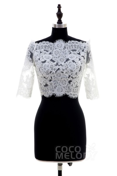 Elegant Ivory Lace Half Sleeve Wedding Wrap CX0015007