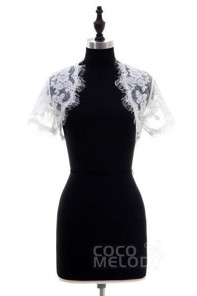 Elegant Ivory Lace Short Sleeve Wedding Jacket CX001500A